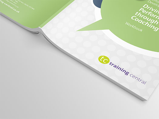 Image shows a close up of the cover for Training Central's coaching for performance training materials; helping organisations improve employee performance through coaching.
