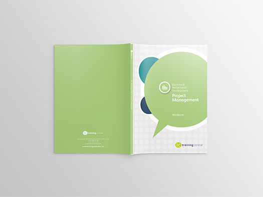 Image shows the cover spread of the workbook for Training Central's project management training materials.