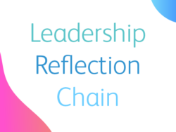 Image shows illustrated words spelling out 'Leadership Reflection Chain'.