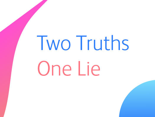 Image shows the text logo for Training Central's two truths, one lie training icebreaker.